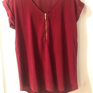 Deep red Express zipper front top